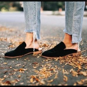 Free people at ease reptile leather loafer black
